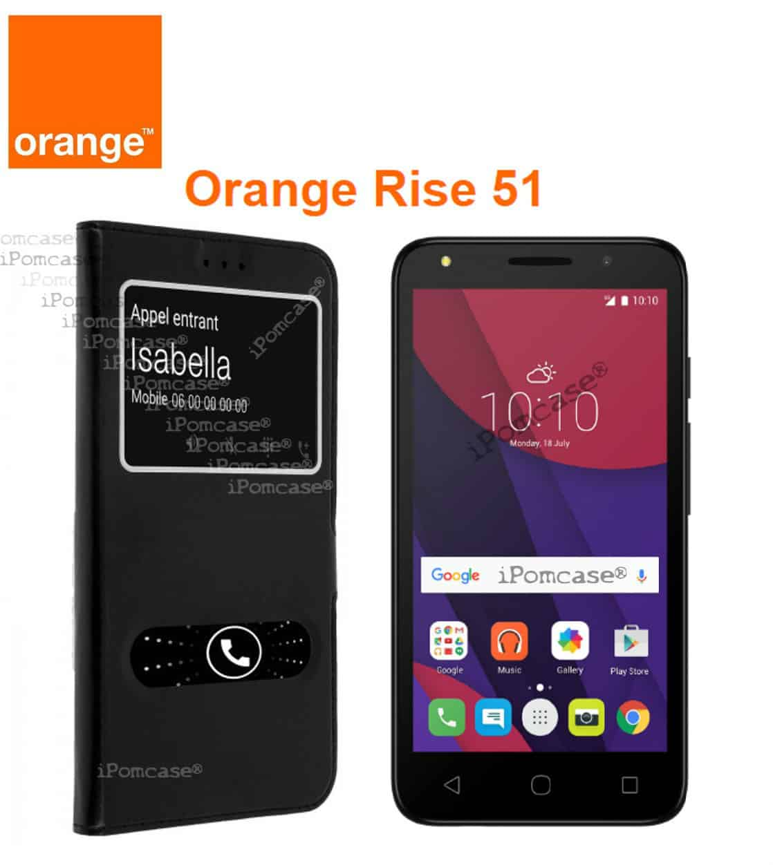 Coque Etui Décrochage Appel ORANGE RISE 51