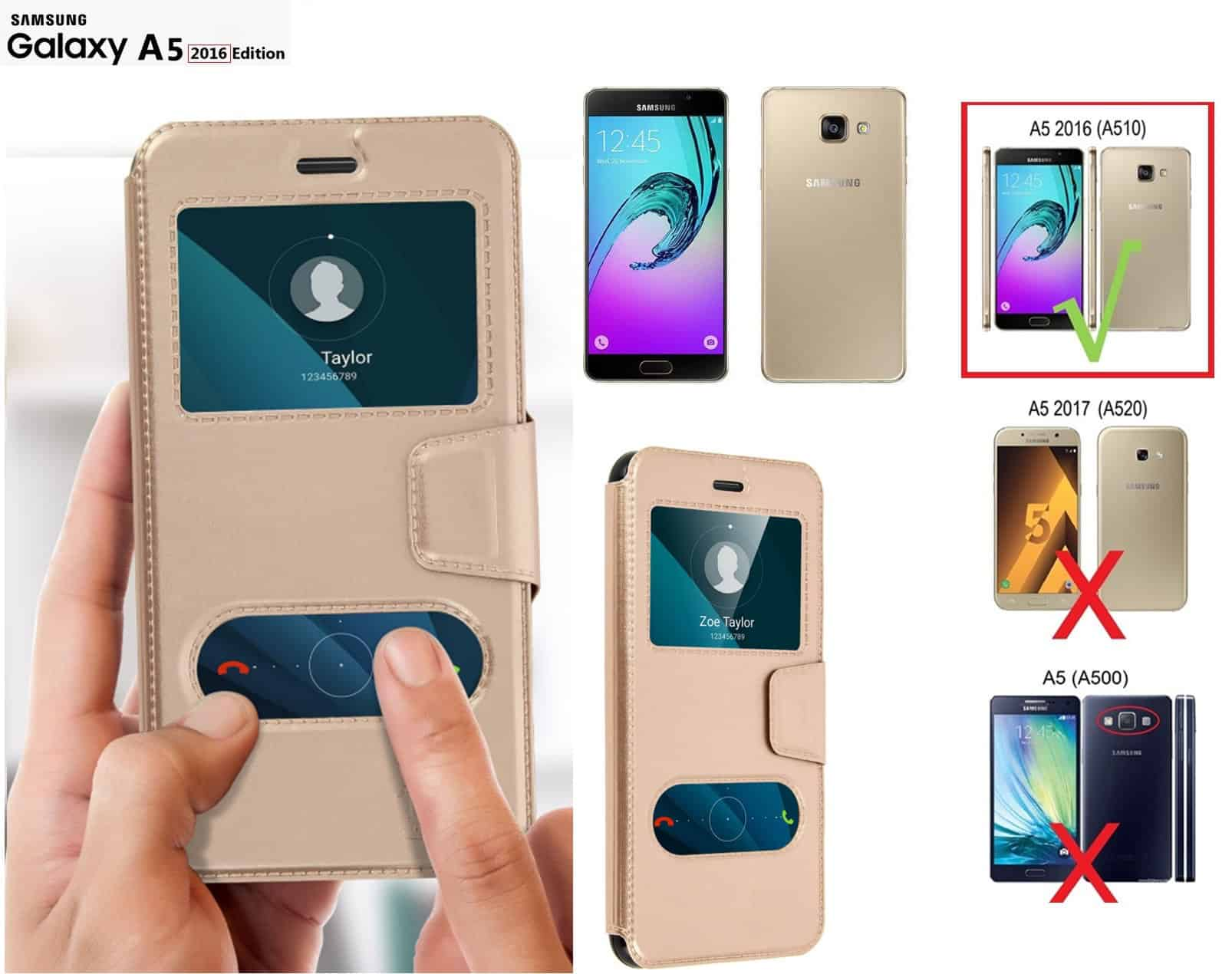 Etui  Décrochage Appel SAMSUNG GALAXY A5 2016  Or