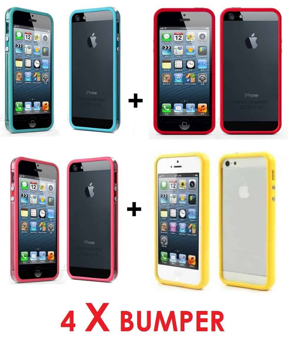 Lot de 4 Coques Bumper protection Contour iPhone 5 ,SE
