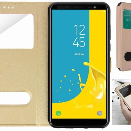 Coque Etui Décrochage Appel SAMSUNG GALAXY J6-Or
