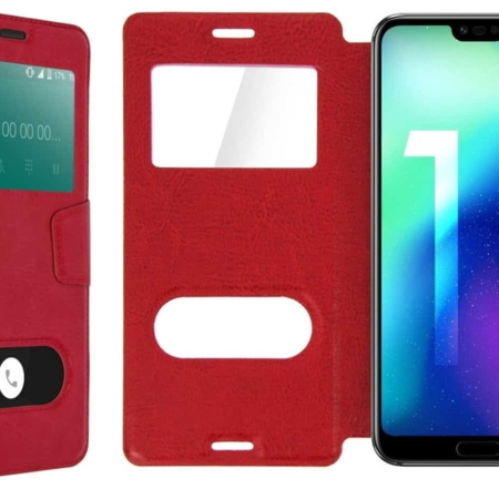 Coque Etui Décrochage Appel HONOR 10 -Rouge