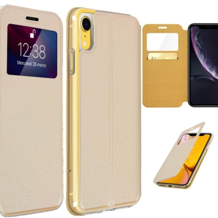 Coque Etui Housse Porte Carte iPhone XR -Or
